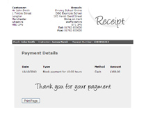 Web Application: DSO Example Receipt